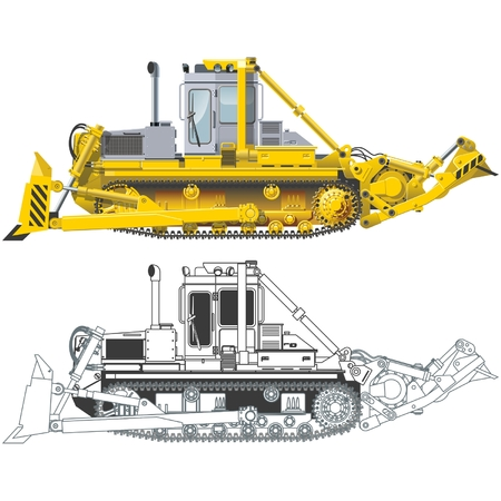 mode of transportation: data mining bulldozer Vettoriali