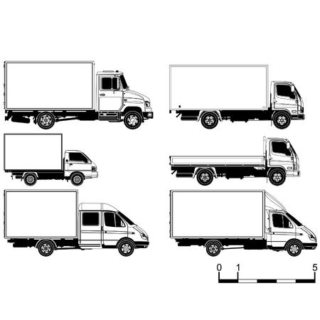 Conjunto de siluetas de camiones detallada de vectores