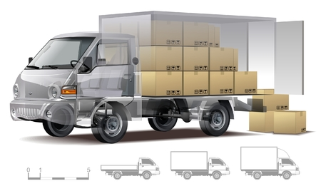 tractor trailer: Vector delivery  cargo truck infographics cutaway