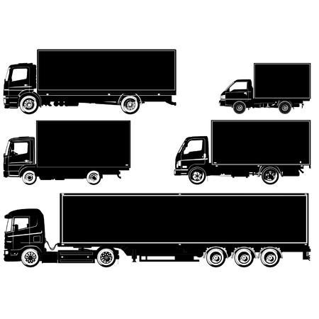 mode of transport: conjunto de siluetas de camiones