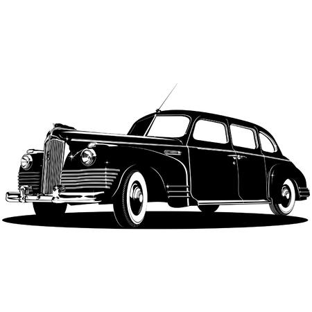 vintage limousine silhouette Stock Vector - 7603548
