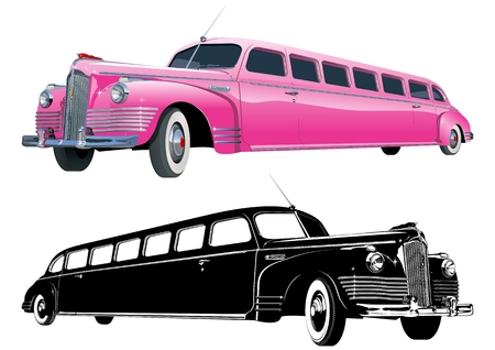long vintage limo and monochrome version Vector