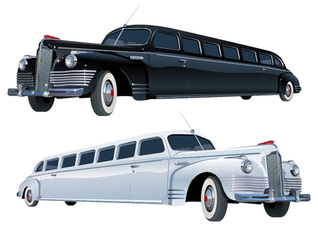 oldtimer:  long vintage limo Illustration