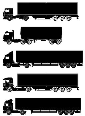 detailed trucks silhouettes set Vector