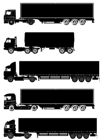 transit: detailed trucks silhouettes set