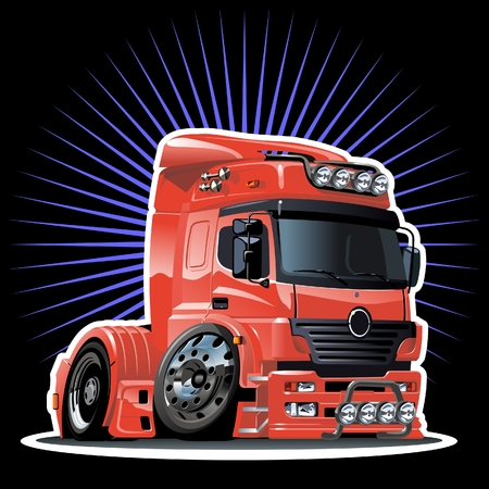 autom�vil caricatura: semi-truck de dibujos animados