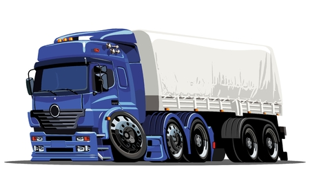 loading truck:  cartoon cargo semi-truck Illustration