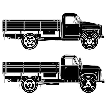 siluetas: Detailed trucks silhouettes set