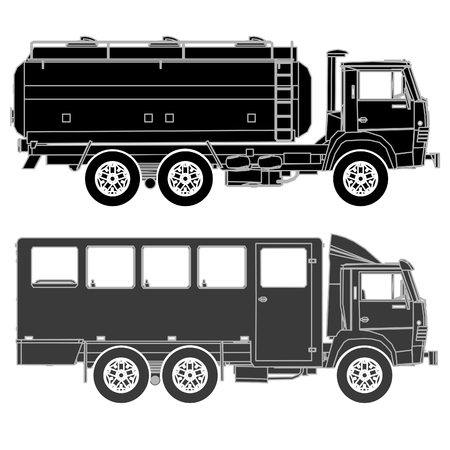 tank car: Detailed trucks silhouettes set