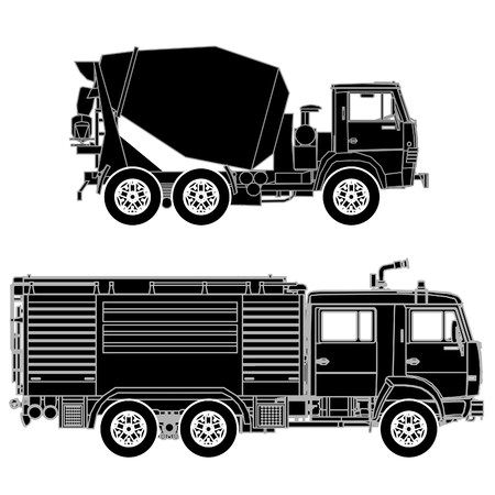 Detailed trucks silhouettes set
