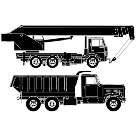 crane truck: Detailed trucks silhouettes set