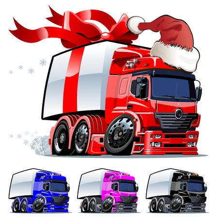 Christmas truck one click repaint Vector
