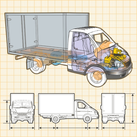 cutaway drawing: delivery  cargo truck infographics cutaway