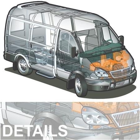 cutaway drawing: consegna  cargo van infographics taglio Vettoriali