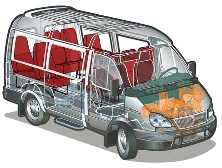 cutaway drawing: mini bus
