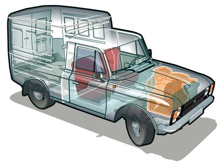 cutaway drawing: delivery  cargo van infographics cutaway
