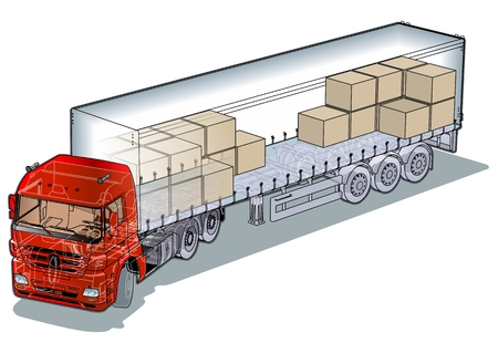 cargo semi-truck infographics cutaway Vector