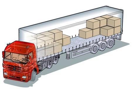 remolque: Corte de infograf�as semi-truck de carga