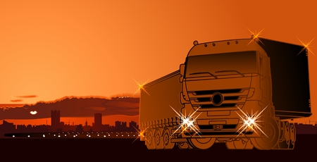 truck on highway: semi-truck at sunset