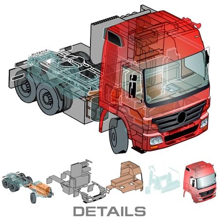 Vector semi-truck infographics cutaway