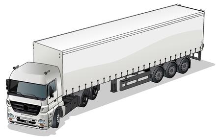 remolques: Semi-truck de carga de vector  Vectores