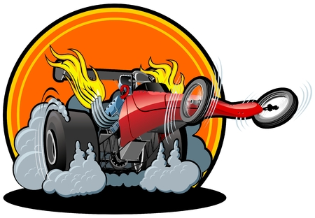 motor race: Vector cartoon dragster Stock Illustratie