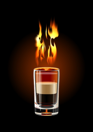 shot glass: Vector B-52 Shot cocktail (flame with transparency)