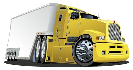 semitruck:  Vector cartoon cargo semi-truck