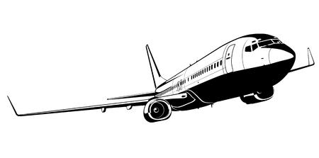 view from the plane: Silueta de avi�n comercial de vector Vectores