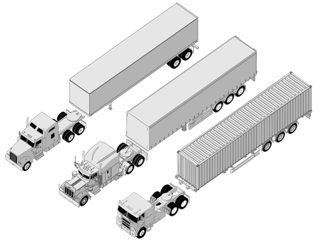 detailed semi-truck set Vector