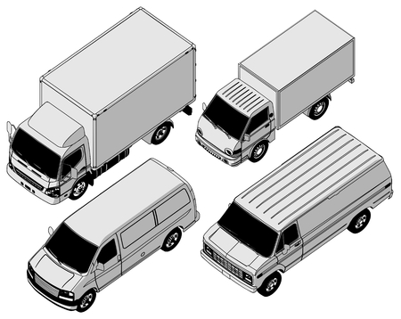 detailed delivery van isometric set Vector