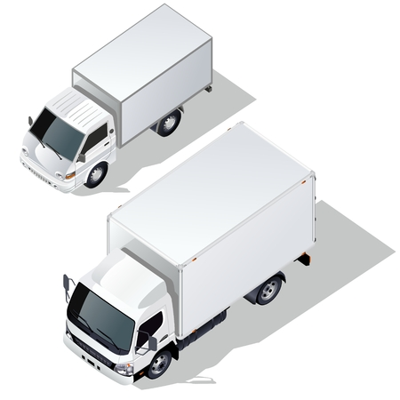 delivery truck isometric set Vector
