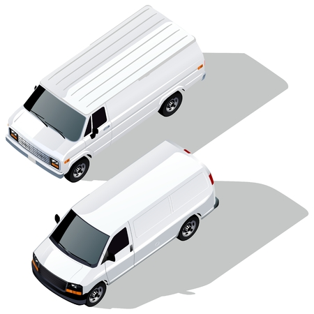 delivery vans isometric set Vector