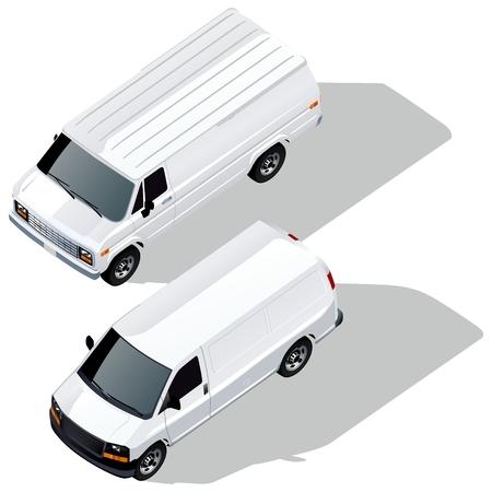 levering bestelwagens isometrische set