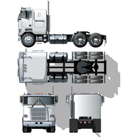 hi-detailed semi-truck Vector