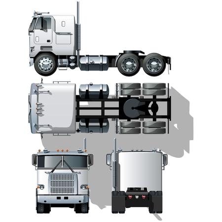 Hi-gedetailleerde semi-truck Vector Illustratie