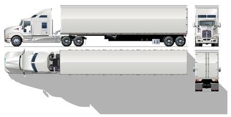 semi truck: Hola-detallada comercial semi-truck
