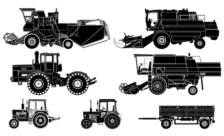 agricultural tools: agricultural vehicles set Illustration