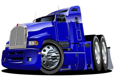 semi truck: cartoon semi-truck Illustration