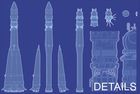 commemorative: hi-detailed space rocket with first spaceship Illustration