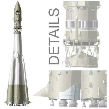 astronaut in space: hi-detailed space rocket R7