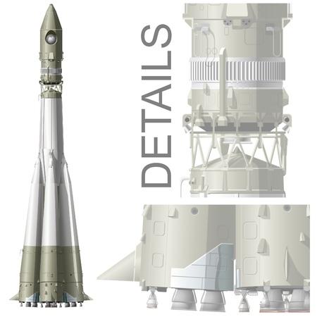 launching: hi-detailed space rocket R7