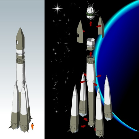 gravity:  Vector detailed space rocket with first spaceship Illustration
