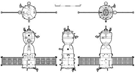 soyuz: Vector hi-detailed spaceship Soyuz TM Illustration