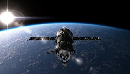 satelite: sat�lite sobre la �rbita Foto de archivo