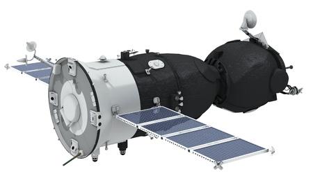 Nave espacial Soyuz aislada sobre fondo blanco