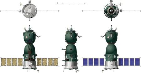 sattelite: Vector hi-detailed spaceship Soyuz TMA