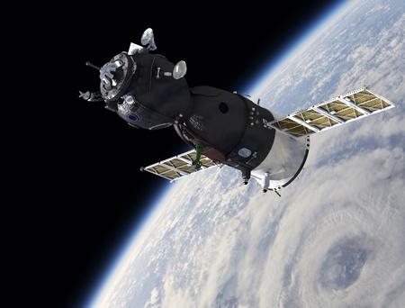 Nave espacial en la órbita de la tierra Foto de archivo