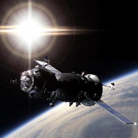 satelite: Spaceship on the Earth orbit Stock Photo