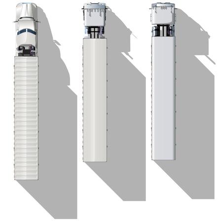 Conjunto de semi-trucks de vista superior detallada de vectores